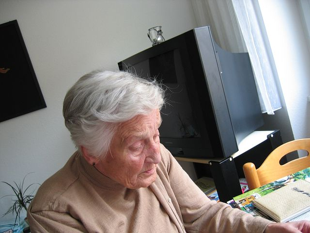 Old woman looking for some aged care advice