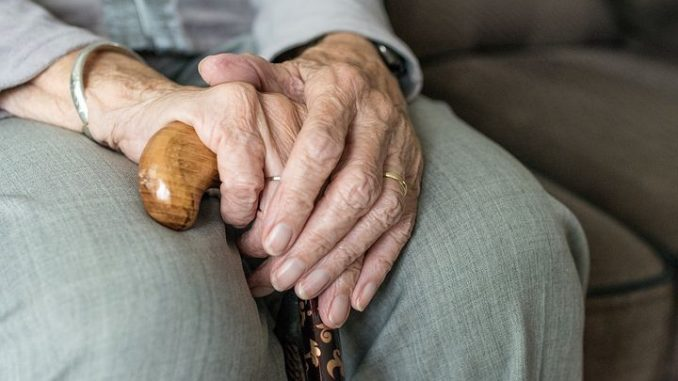Hands of an old person