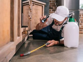 Pest control worker in Melbourne lying on the floor checking for insects